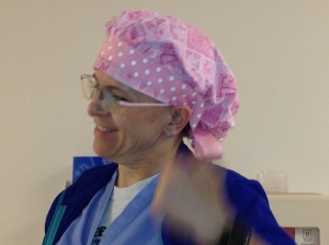 Marti - the cool OR charge nurse with the cool pink hat (except that A&M nonsense)