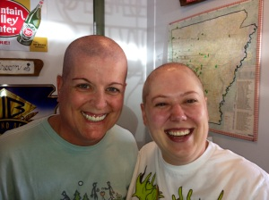 The day I had to shave my head - my amazing friend Marisa did hers, too, and surprised me!