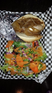Wild Boar Dog with Biker Jim's Classic Top and Mixed Green Salad
