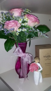 Beautiful flowers from Mom & Dad, and a new Willowtree figurine from my awesome wife <3