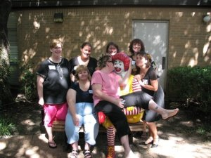 Giving Ronald McDonald some love at his house in Dallas