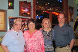 A few years ago, dinner in The Woodlands:  Me, Aunt Charlotte, Leida, and my brother, Ron